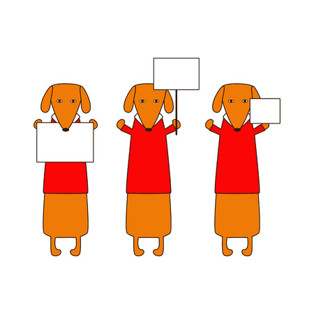 white collar: Cute orange colored brown contoured dachshunds in red sweaters with white collar standing on hind legs with dissolved forelegs, holding blank nameplates in paws. Flat style illustration