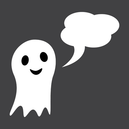 opened mouth: Cute white ghost with wide opened eyes and mouth and speech bubble in the shape of cloud with space for text. Design element Illustration