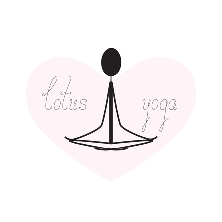 heart tone: Stylized illustration of meditating silhouette of person sitting in lotus yoga position inside pink heart with calligraphic lettering lotus yoga isolated on white background. template, design element