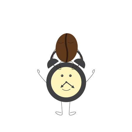 sleepiness: Funny alarm clock character and sleepy coffee bean sitting on it. Concept of morning sleepiness. Flat style illustration on white background