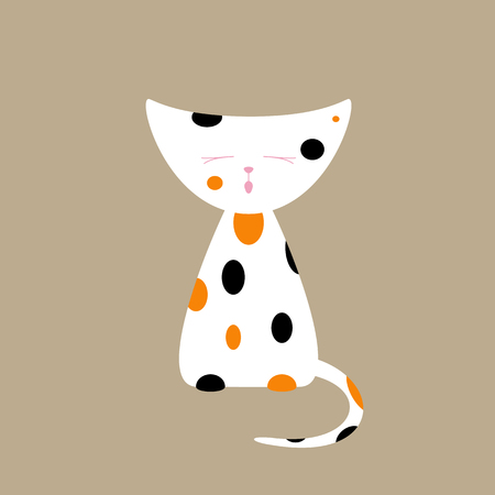 yelp: Cute tri-colored meowing kitten isolated on beige background. Logo template, design element. Flat style illustration Illustration