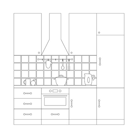 extractor: Liner flat style kitchen set. Furniture, extractor hood, built-in appliances, electric kettle, rail on ceramic tile wall with oven-glove, spoon and spatula, dishes, apple. Coloring page template