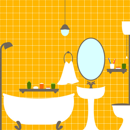 washstand: Flat style illustration of bathroom and water closet interior with ceramic tile wall, bathtub, big oval mirror, washstand, shelves with tubes, toothbrushes, towel, lamp on ceiling Illustration
