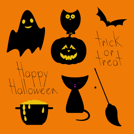 31th: Flat style set of Halloween characters and objects. Ghost, pumpkin, owl, bat, kitten, cauldron with potion, broom with spider, letterings trick or treat and Happy Halloween isolated on orange background Illustration