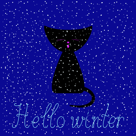 meowing: Cute black colored meowing kitten at navy colored background with round snowflakes and calligraphic lettering Hello winter. Greeting card, invitation template. Flat style illustration