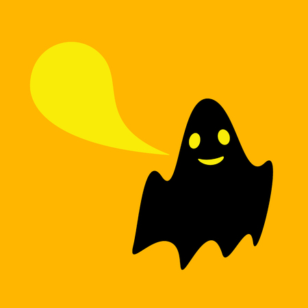 opened eye: Cute black ghost with wide opened eyes and smiling mouth and bright yellow speech bubble with space for text. Design element Illustration