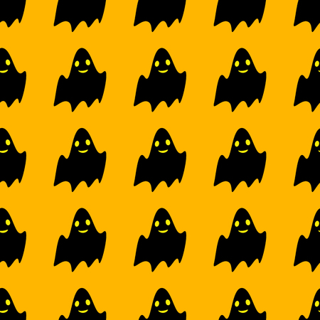 opened mouth: Seamless pattern with repeating cute black ghost with wide opened eyes and smiling mouth on bright yellow background