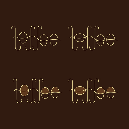 toffee: Set of four flaxen colored lettering toffee isolated on brown background. Logo template, design element