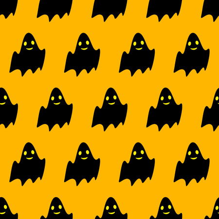 31th: Seamless pattern with repeating cute black ghost with wide opened eyes and smiling mouth situated in staggered rows and isolated on bright yellow background