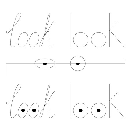 penmanship: Set of look logos. Penmanship and printing font lettering. Eyes in the shape of letter o
