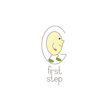first step: Go logo template with letter G and letter o with legs and hands inside it. Lettering first step. Baby first steps, education and career concept Illustration