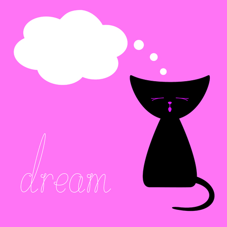 Cute black colored meowing kitten, white dream bubble and with calligraphic lettering dream isolated on pink background. Design element. Flat style illustration