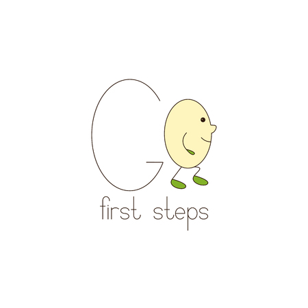 first steps: Go template with letter G and letter o in the shape of smiling egg with nose legs and hands. Lettering first steps. Baby first steps, education, start up business and career concept. template, design element