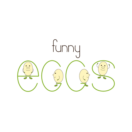 naming: Lettering funny eggs. Cute egg characters on each letter in word egg. template, design element for startup business branding, farm, market places Liner flat style illustration