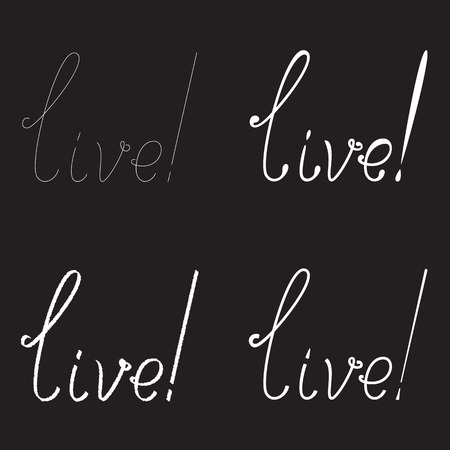 distraction: Set of four white colored live lettering with exclamation marks isolated on black background. Inspirational message