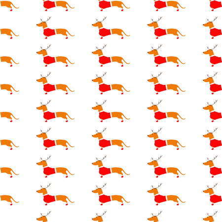 wiener: Seamless pattern with cute dachshund in reindeer horns and Christmas suit on white background. Flat style illustration