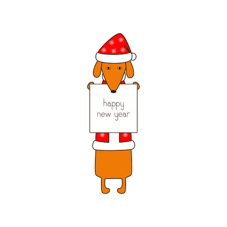 dissolved: Cute orange colored brown contoured dachshund standing on hind legs in Christmas suit, red coat and hat decorated with snowflakes holding white poster with lettering happy new year in dissolved forelegs. Vector flat style illustration Illustration