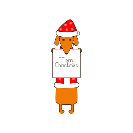 dissolved: Cute orange colored brown contoured dachshund standing on hind legs in Christmas suit, red coat and hat decorated with snowflakes holding white poster with lettering Merry Christmas in dissolved forelegs. Vector flat style illustration