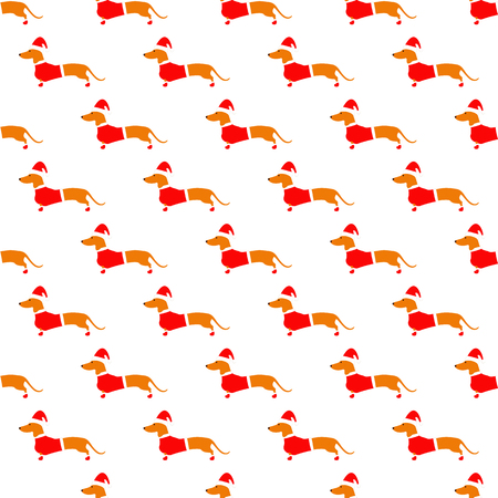badger dog: Seamless pattern with cute dachshund in Christmas suit situated in staggered rows on white background. Flat style illustration
