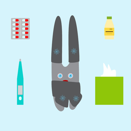 red eyes: Cute bunny in grey hats and scarf with red eyes and nose, thermometer, box with paper handkerchiefs, medicine bottle with label in front of it and green cap, pack with pills isolated on blue background. Flat style illustration Illustration