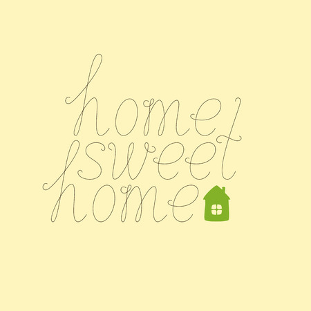 dwelling: Calligraphic brown colored home sweet home lettering with green colored house isolated on flaxen background. Concept of family nest and new dwelling. Flat style illustration