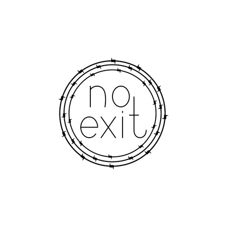 Black colored no exit lettering inside barbed wire circle. Design element. Concept of insoluble problem, depression, crisis Illustration
