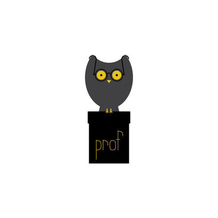 dais: Big grey owl with large eyes in old-fashioned round spectacles sitting on black cathedra with yellow lettering prof on it. Flat style illustration isolated on white background
