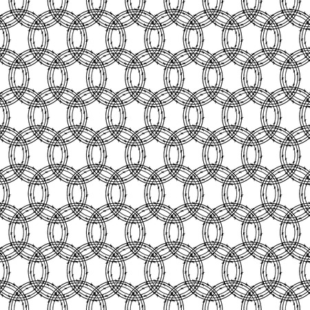 Seamless pattern with repeating circles of black colored barbed wires on white background