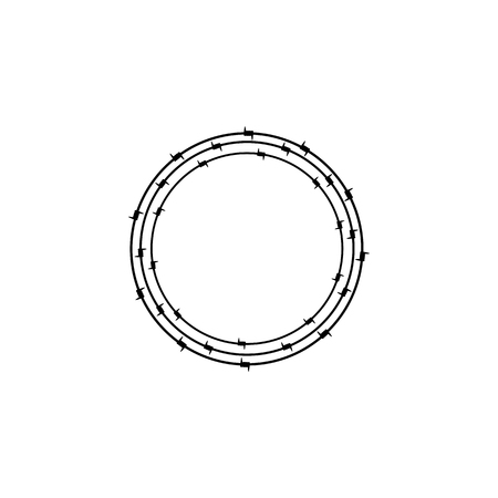 insoluble: Black colored ring of barbed wire. Design element. Concept of insoluble problem, depression, crisis, armed conflict