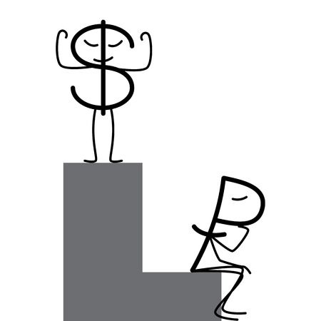 decline in values: Dollar and ruble characters. Proud dollar standing on high step and sad ruble sitting in low step. Profit and loss diagrams. Concept of difference in exchange rates