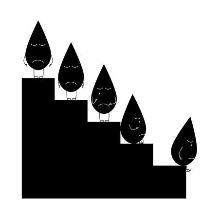 caractères Sad goutte d'huile debout et assis sur graphique de chute du prix du pétrole isolé sur fond blanc Vecteurs