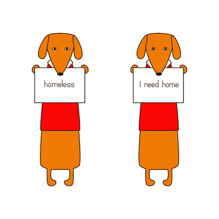turnout: Two cute orange colored brown contoured dachshund in red sweaters with white collars standing on hind legs with dissolved forelegs, holding plates with lettering. Flat style illustration Illustration