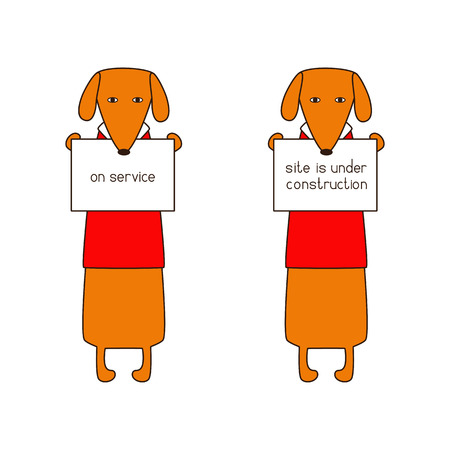 hind: Two cute orange colored brown contoured dachshunds in red sweaters with white collar standing on hind legs with dissolved forelegs, holding plates in paws. Lettering on service on one board and site is under construction on other. Flat style illustration Illustration