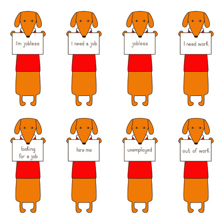 Set of eight cute orange colored brown contoured dachshunds in red sweaters with white collar standing on hind legs with dissolved forelegs, holding plates in paws. Concept of jobless and looking for job. Flat style illustration