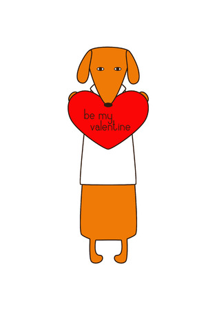 declaration: Cute orange colored brown contoured dachshund in white shirt standing on hind legs with dissolved forelegs, holding red heart with lettering be my valentine inside it. Declaration of love. Flat style illustration