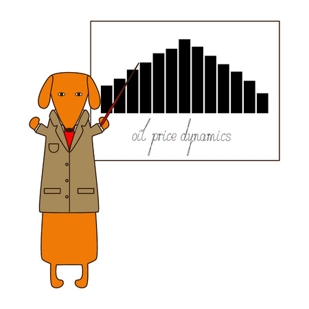 dissolved: Cute orange dachshund in beige jacket, white shirt and red tie standing on hind legs with dissolved forelegs, holding red pointer presents the oil price graphic with calligraphic lettering oil price dynamics under it. Flat style illustration Illustration