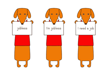 jobless: Set of cute orange colored brown contoured dachshunds in red sweaters with white collar standing on hind legs with dissolved forelegs, holding plates in paws. Concept of jobless and looking for job. Flat style illustration