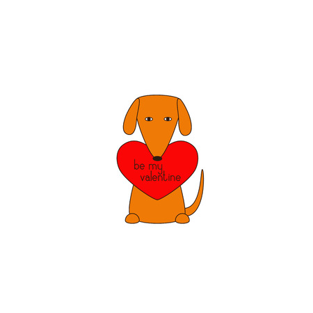 declaration: Cute orange colored brown contoured sitting dog holding red heart with lettering be my valentine in mouth. Declaration of love. Flat style illustration. Greeting card  invitation design element