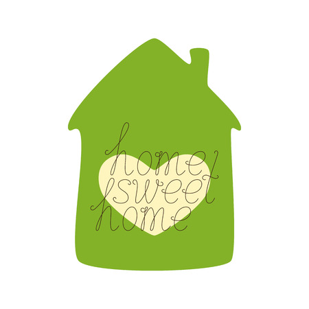 dwelling: Brown colored home sweet home calligraphic lettering with green colored house and window in the shape of heart isolated on white background. Concept of family nest and new dwelling. Flat style illustration
