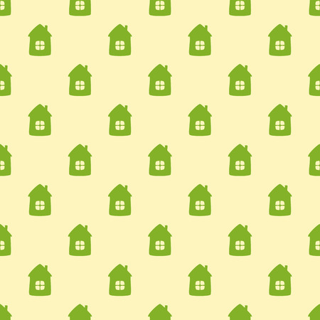 settle: Seamless background with green houses on flaxen background. For textile, wrapping paper, wallpaper, boxes decoration, other packing elements