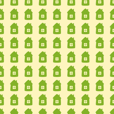 flaxen: Seamless background with green cartoon style houses isolated on flaxen background. Textile, wrapping paper, wallpaper, boxes decoration, other packing elements template