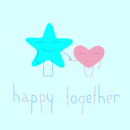 celadon blue: Star and heart cartoon characters. Lettering happy together. Greeting card  invitation template. Flat style illustration