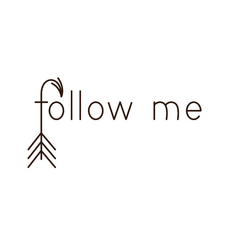follow me: Card with lettering follow me with arrow as letter f. Greeting card  invitation template. Design element