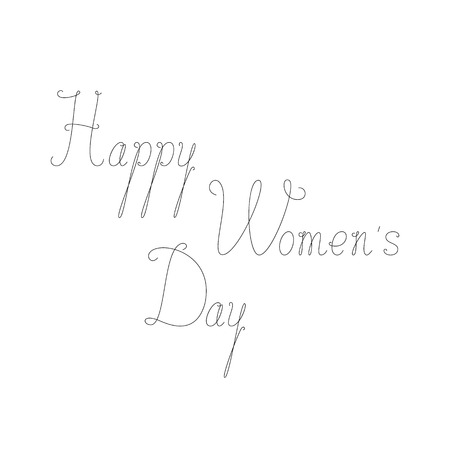 womans day: Greeting Card with calligraphic lettering Happy womans day. Greeting card  invitation template. Design element