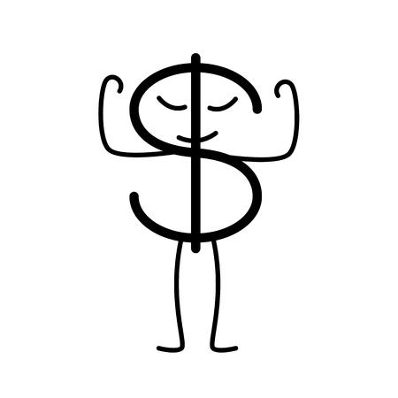Orgoglioso di colore nero carattere dollaro isolato su sfondo bianco. Il concetto di forza nazionale moneta americana. elemento di design