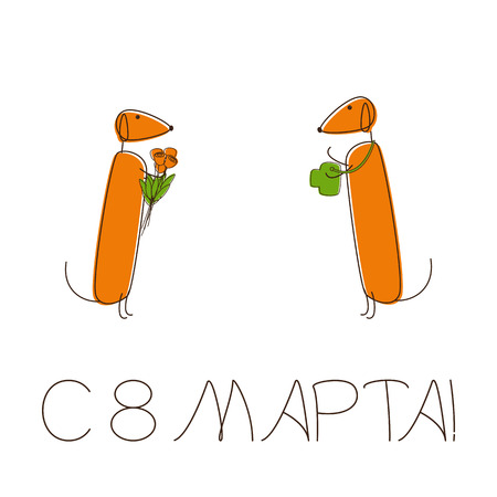 foxy: Greeting card with two cute brown contoured foxy colored dachshunds. One with camera, another with bouquet of flowers, speech bubble with lettering 8th march in Russian on white background Illustration