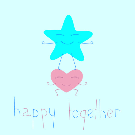 big star: Heart cartoon character holding big star character. Lettering happy together. Greeting card  invitation template. Flat style illustration