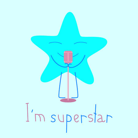 im: Blue colored star with closed eyes and smile with retro microphone and lettering I�m superstar isolated on light blue background. Logo template, design element Illustration
