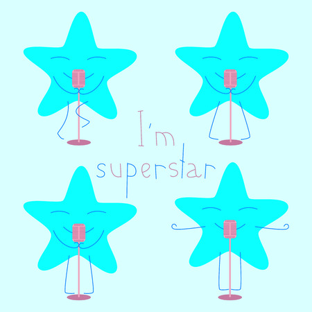 closed eyes: Set of blue colored star with closed eyes and smile with retro microphone and lettering I%u2019m superstar isolated on light blue background. template, design element