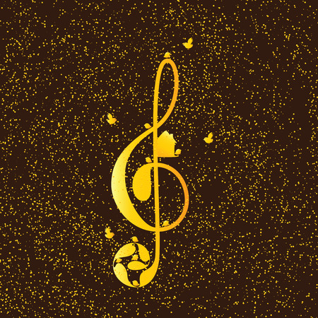 nesting box: Beautiful golden colored treble clef with floral elements, nesting box and birds on brown background with golden dotes. Greeting card  invitation template. Design element